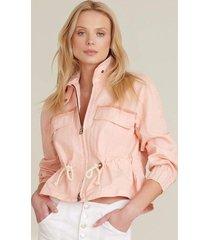 blush pink roz drawstring peplum jacket