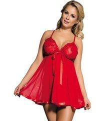 pyjama's / nachthemden sols babydoll rojo con lacito y brillantes