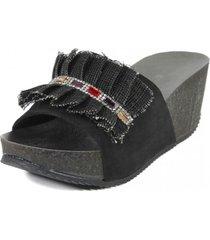 sandalia cuero arpi piedras negro nara