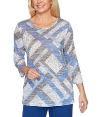 alfred dunner sapphire skies textured melange patchwork top