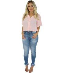camisa adamas manga curta feminina
