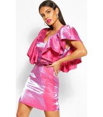 geweven mini-jurk met extreme ruches en v-hals, warm roze