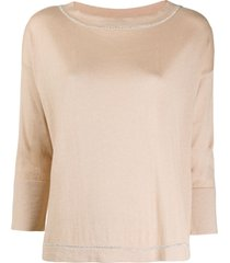 snobby sheep fine knit cropped sleeve top - neutrals