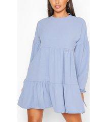 petite tiered balloon sleeve smock dress, aqua