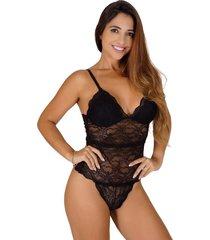body vip lingerie em renda sem bojo forrado preto