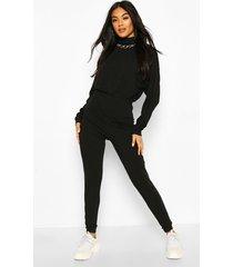 jumbo rib high neck jumpsuit, black