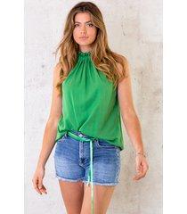 mouwloze strik top groen