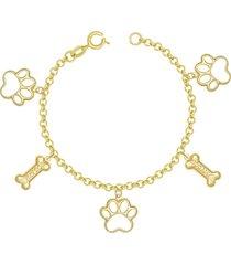 pulseira prata mil com patas pet vazada e ossos 18mm my dog dourado