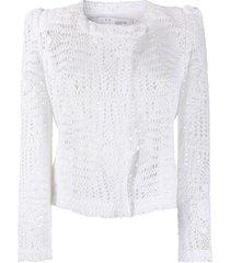 iro crochet knit cardigan - white