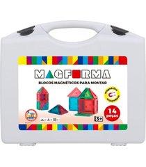 blocos para montar - magforma magnéticos maleta com 14 peças