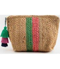 shannon stripe pouch - green