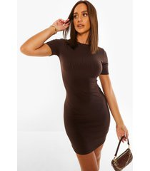 geribbelde bodycon mini jurk met korte mouwen, chocolate