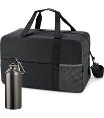 kit bolsa esportiva standard com squeeze sport topget preto e cinza