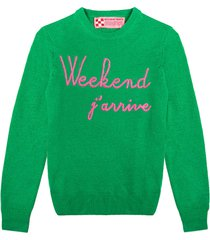 green woman sweater weekend jarrive fluo pink embroidery