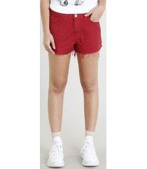 short de sarja feminino boy com barra desfiada vermelho