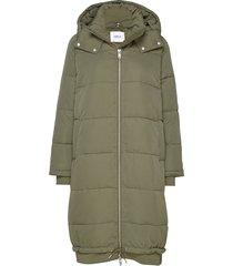 entable long jacket 6653 gevoerde lange jas groen envii