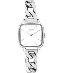 reloj analogo kate revolt silver white komono