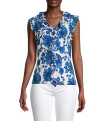 tommy hilfiger women's pysp floral ruffle top - gulf blue - size s