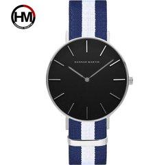 reloj de correa de nylon de los hombres de la cara-azul