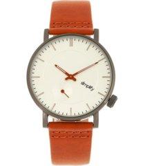 simplify quartz the 3600 silver case, genuine orange leather watch 40mm