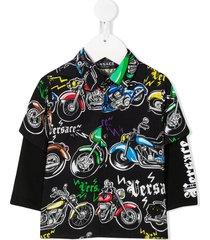 young versace motorcycle-print layered shirt - black