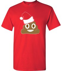 poop emoji wearing a christmas hat xmas funny men's tee shirt 1524