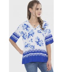 blusa manga corta cuello v azul curvi