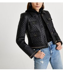 river island womens black faux leather quilted jacket