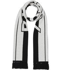 burberry logo jacquard-knit scarf - white