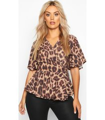 plus leopard woven wrap peplum top, brown