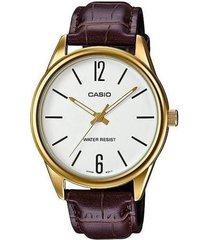 reloj casio mtpv005gl_7b marrón cuero