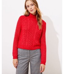 loft petite cropped turtleneck cable sweater