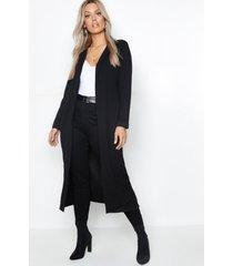 plus crêpe long line duster jas, zwart