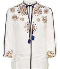 blus salina blouse lange mouwen beige desigual
