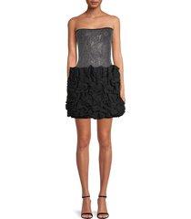 balmain women's beaded mini dress - black grey - size 38 (6)