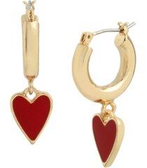 betsey johnson heart huggie earrings