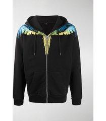 marcelo burlon county of milan wings print zip-up hoodie