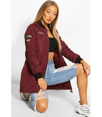 badge detail bomber jacket, burgundy