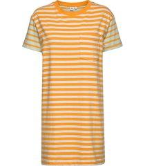 striped short sleeve pocket t-shirt dress korte jurk geel gap