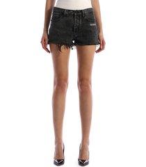 off-white black denim shorts
