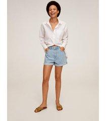 denim shorts met omgeslagen broekspijpen