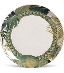 conjunto 6pã§s pratos rasos porto brasil coup foliage branco/verde - branco - dafiti