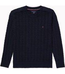 tommy hilfiger women's adaptive cable knit sweater desert sky - xl
