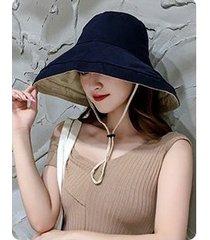 sombrero de sol sólido de verano de doble cara para mujer azul