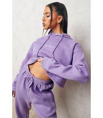 woman korte geborduurde hoodie, purple