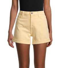 7 for all mankind women's rolled-cuff denim shorts - yellow - size 8
