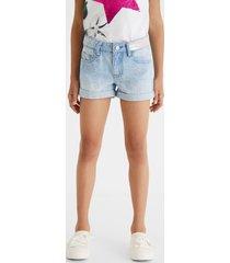 denim shorts swiss embroidery - blue - 9/10