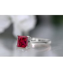1 ct princess red ruby solitaire wedding engagement ring 14k white gold finish