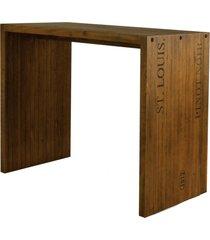 balcão para cozinha flauer com gravura madeira maciça rustic brown - gran belo
