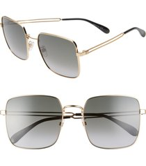 givenchy 59mm special fit gradient square sunglasses in gold copper/brown gradient at nordstrom
